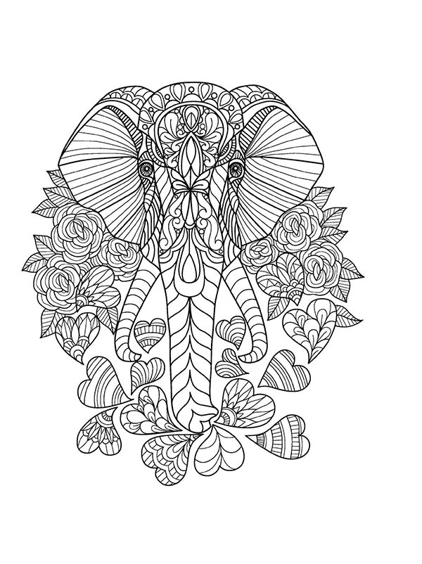 Free coloring pages of Elephants